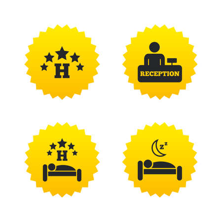 Five stars hotel icons. Travel rest place symbols. Human sleep in bed sign. Hotel check-in registration or reception. Yellow stars labels with flat icons. Vector