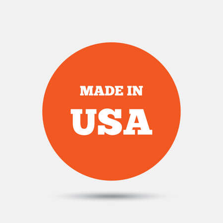 import trade: Made in the USA icon. Export production symbol. Product created in America sign. Orange circle button with icon. Vector