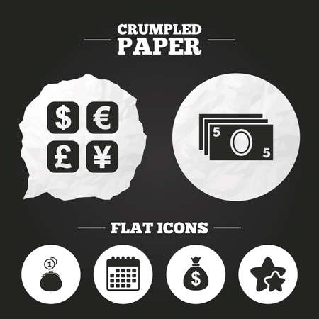 currency converter: Crumpled paper speech bubble. Currency exchange icon. Cash money bag and wallet with coins signs. Dollar, euro, pound, yen symbols. Paper button. Vector