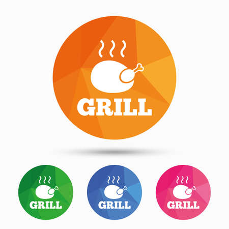 chicken grill: Roast chicken grill sign icon. Hen bird meat symbol. Triangular low poly button with flat icon. Vector