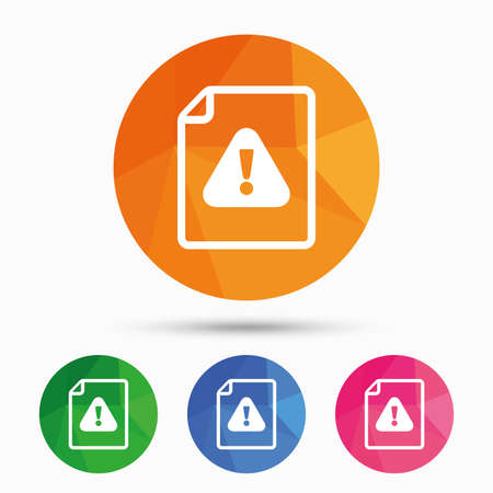 triangular warning sign: File attention sign icon. Exclamation mark. Hazard warning symbol. Triangular low poly button with flat icon. Vector
