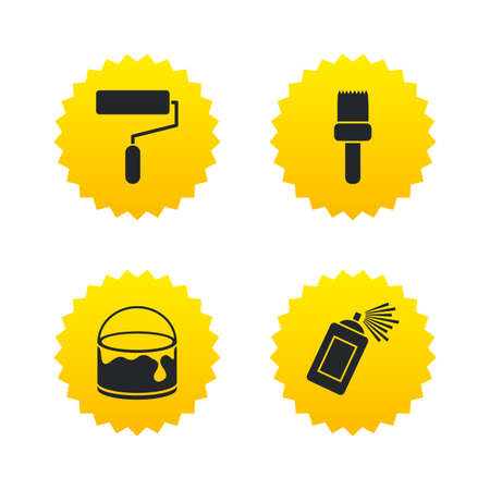Painting roller, brush icons. Spray can and Bucket of paint signs. Wall repair tool and painting symbol. Yellow stars labels with flat icons. Vector