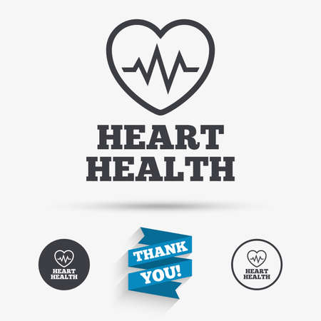 heart health: Heartbeat sign icon. Heart health cardiogram check symbol. Flat icons. Buttons with icons. Thank you ribbon. Vector Illustration