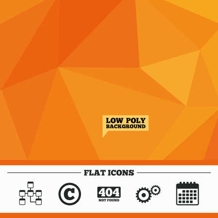 mysql: Triangular low poly orange background. Website database icon. Copyrights and gear signs. 404 page not found symbol. Under construction. Calendar flat icon. Vector