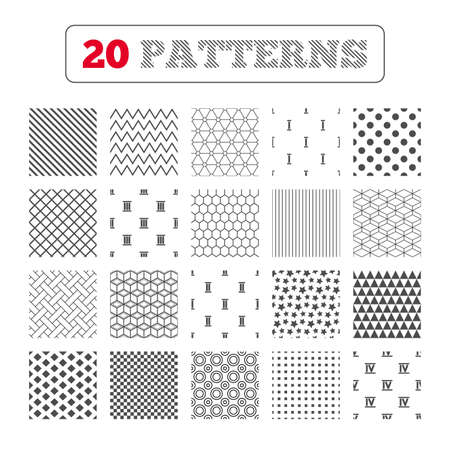 ancient rome: Ornament patterns, diagonal stripes and stars. Roman numeral icons. 1, 2, 3 and 4 digit characters. Ancient Rome numeric system. Geometric textures. Vector