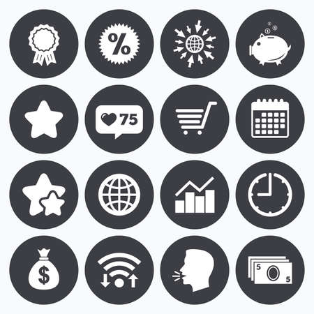 medal like: Calendar, wifi and clock symbols. Like counter, stars symbols. Online shopping, e-commerce and business icons. Piggy bank, award and star signs. Cash money, discount and statistics symbols. Talking head, go to web symbols. Vector