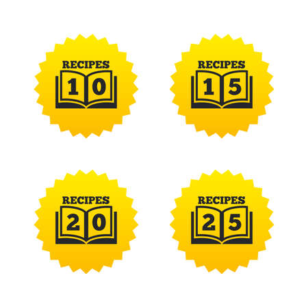 15 to 20: Cookbook icons. 10, 15, 20 and 25 recipes book sign symbols. Yellow stars labels with flat icons. Vector Illustration