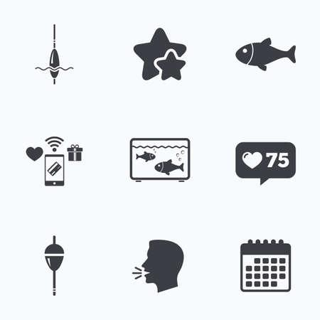 hook like: Fishing icons. Fish with fishermen hook sign. Float bobber symbol. Aquarium icon. Flat talking head, calendar icons. Stars, like counter icons. Vector