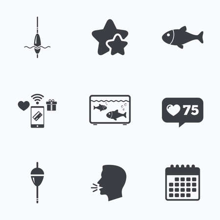 Fishing icons. Fish with fishermen hook sign. Float bobber symbol. Aquarium icon. Flat talking head, calendar icons. Stars, like counter icons. Vector