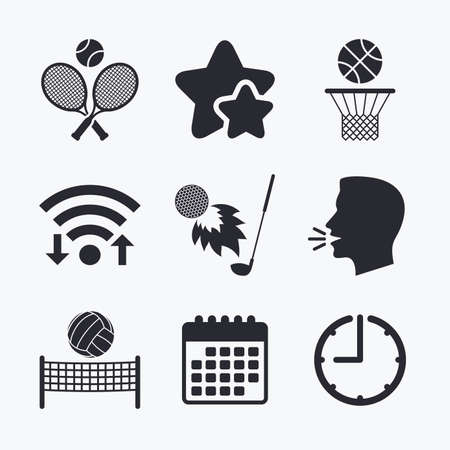 volleyball net: Tennis rackets with ball. Basketball basket. Volleyball net with ball. Golf fireball sign. Sport icons. Wifi internet, favorite stars, calendar and clock. Talking head. Vector