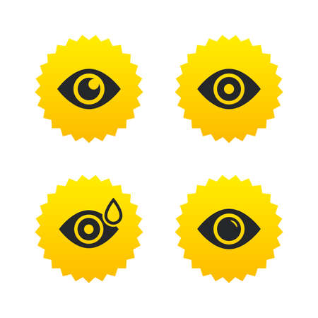 red eye: Eye icons. Water drops in the eye symbols. Red eye effect signs. Yellow stars labels with flat icons. Vector