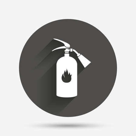 fire extinguisher sign: Fire extinguisher sign icon. Fire safety symbol. Circle flat button with shadow. Vector Illustration