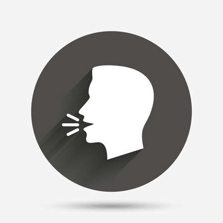 loud noise: Talk or speak icon. Loud noise symbol. Human talking sign. Circle flat button with shadow. Vector