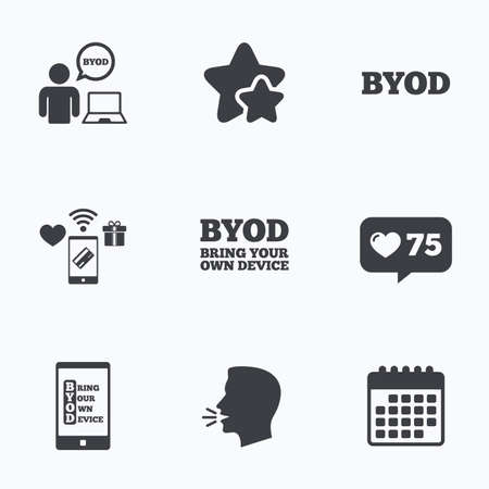 BYOD icons. Human with notebook and smartphone signs. Speech bubble symbol. Flat talking head, calendar icons. Stars, like counter icons. Vector Illustration