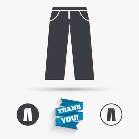 breeches: Mens jeans or pants sign icon. Casual clothing symbol. Flat icons. Buttons with icons. Thank you ribbon. Vector Illustration