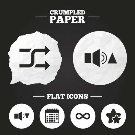 quieter: Crumpled paper speech bubble. Player control icons. Sound louder and quieter signs. Dynamic symbol. Shuffle random and repeat loop. Paper button. Vector Illustration