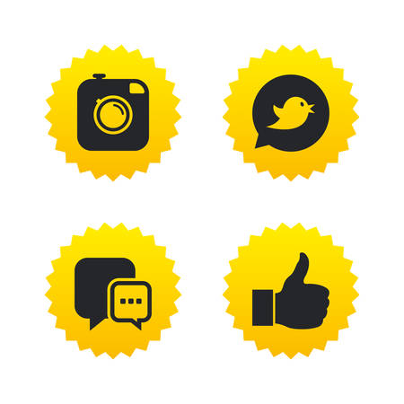yellow photo: Hipster photo camera icon. Like and Chat speech bubble sign. Bird symbol. Yellow stars labels with flat icons. Vector Illustration
