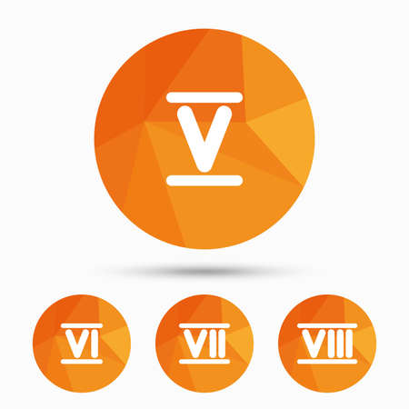 Roman numeral icons. 5, 6, 7 and 8 digit characters. Ancient Rome numeric system. Triangular low poly buttons with shadow. Vector