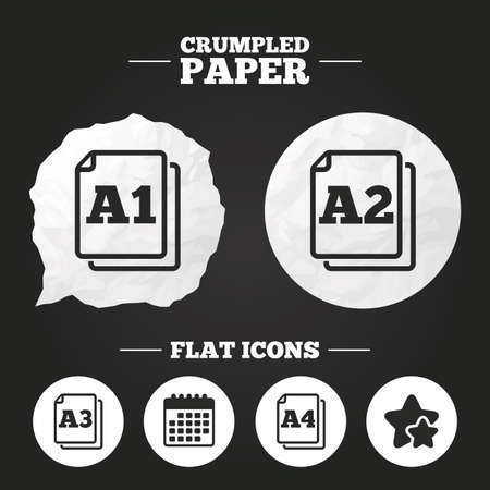 a1: Crumpled paper speech bubble. Paper size standard icons. Document symbols. A1, A2, A3 and A4 page signs. Paper button. Vector