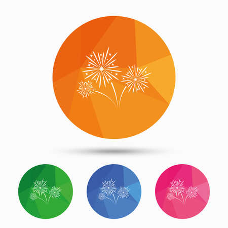 pyrotechnic: Fireworks sign icon. Explosive pyrotechnic show symbol. Triangular low poly button with flat icon. Vector