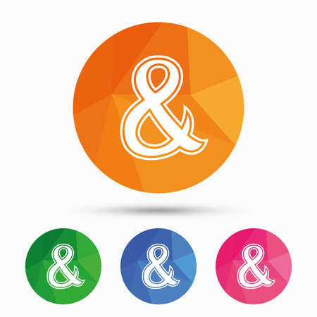 logical: Ampersand sign icon. Programming logical operator AND. Wedding invitation symbol. Triangular low poly button with flat icon. Vector