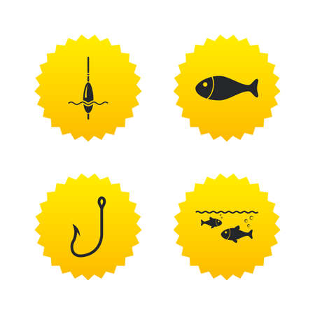 bobber: Fishing icons. Fish with fishermen hook sign. Float bobber symbol. Yellow stars labels with flat icons. Vector