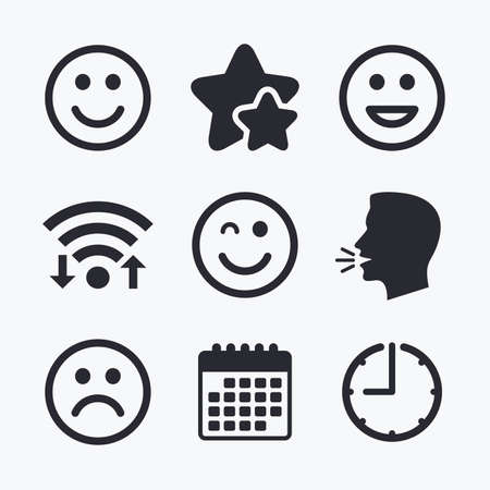 sorrowful: Smile icons. Happy, sad and wink faces symbol. Laughing lol smiley signs. Wifi internet, favorite stars, calendar and clock. Talking head. Vector
