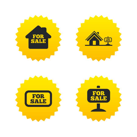 house for sale: For sale icons. Real estate selling signs. Home house symbol. Yellow stars labels with flat icons. Vector
