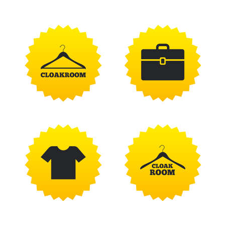 cloakroom: Cloakroom icons. Hanger wardrobe signs. T-shirt clothes and baggage symbols. Yellow stars labels with flat icons. Vector Illustration