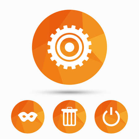 Anonymous mask and cogwheel gear icons. Recycle bin delete and power sign symbols. Triangular low poly buttons with shadow. Vector Illustration