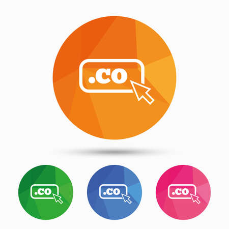 co: Domain CO sign icon. Top-level internet domain symbol with cursor pointer. Triangular low poly button with flat icon. Vector