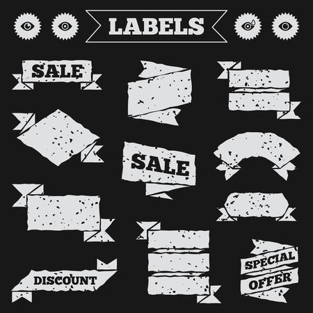 red eye: Stickers, tags and banners with grunge. Eye icons. Water drops in the eye symbols. Red eye effect signs. Sale or discount labels. Vector