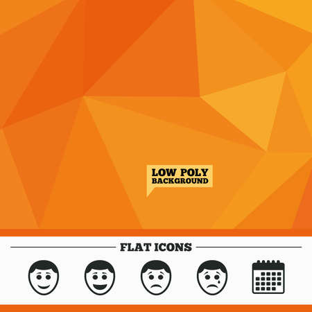 triangular eyes: Triangular low poly orange background. Human smile face icons. Happy, sad, cry signs. Happy smiley chat symbol. Sadness depression and crying signs. Calendar flat icon. Vector