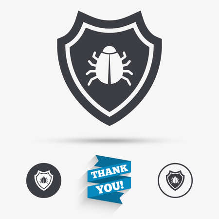 virus protection: Shield sign icon. Virus protection symbol. Bug symbol. Flat icons. Buttons with icons. Thank you ribbon. Vector