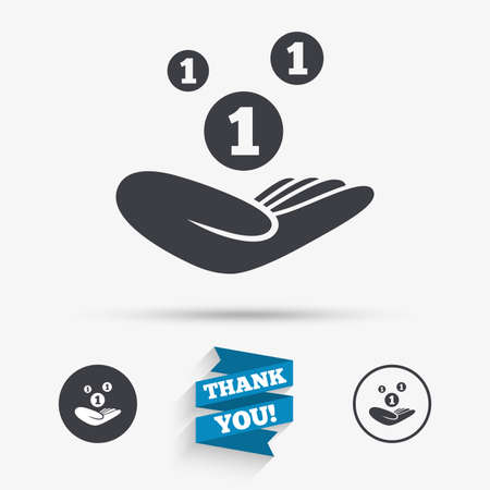 endowment: Donation hand sign icon. Hand holds coins. Charity or endowment symbol. Human helping hand palm. Flat icons. Buttons with icons. Thank you ribbon. Vector