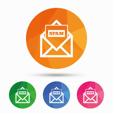 spam mail: Mail icon. Envelope symbol. Message spam sign. Mail navigation button. Triangular low poly button with flat icon. Vector