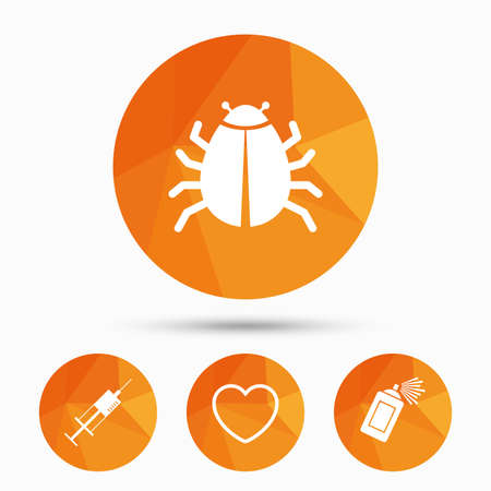syringe inoculation: Bug and vaccine syringe injection icons. Heart and spray can sign symbols. Triangular low poly buttons with shadow. Vector