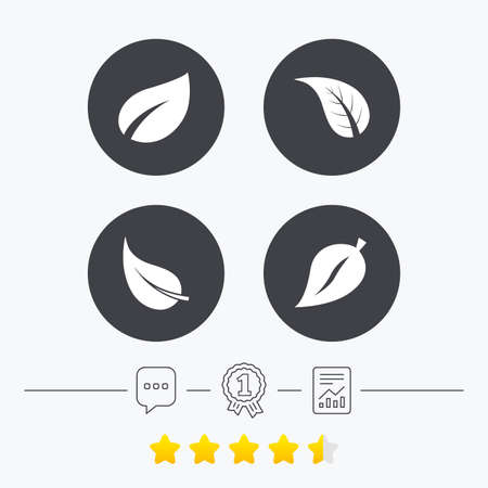 star product: Leaf icon. Fresh natural product symbols. Tree leaves signs. Chat, award medal and report linear icons. Star vote ranking. Vector