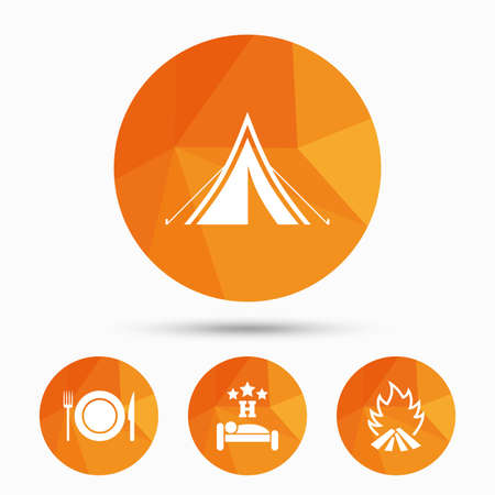Food, sleep, camping tent and fire icons. Knife, fork and dish. Hotel or bed and breakfast. Road signs. Triangular low poly buttons with shadow. Vector
