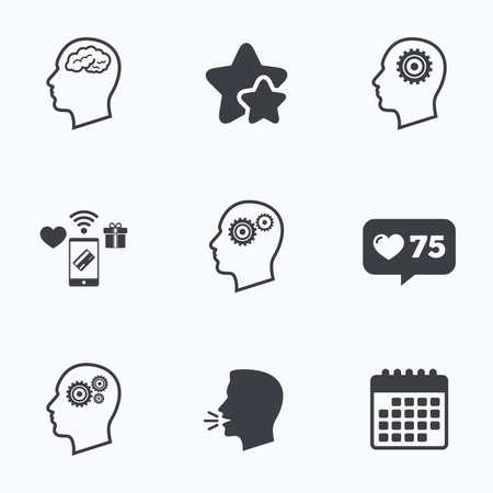 Head with brain icon. Male human think symbols. Cogwheel gears signs. Flat talking head, calendar icons. Stars, like counter icons. Vector Иллюстрация