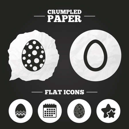 pasch: Crumpled paper speech bubble. Easter eggs icons. Circles and floral patterns symbols. Tradition Pasch signs. Paper button. Vector