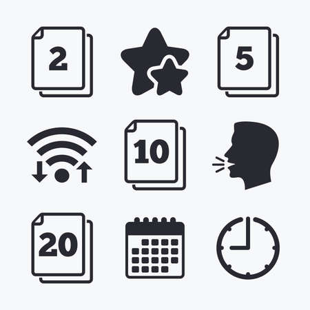 2 5: In pack sheets icons. Quantity per package symbols. 2, 5, 10 and 20 paper units in the pack signs. Wifi internet, favorite stars, calendar and clock. Talking head. Vector Illustration