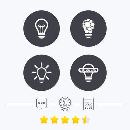 energy ranking: Light lamp icons. Circles lamp bulb symbols. Energy saving. Idea and success sign. Chat, award medal and report linear icons. Star vote ranking. Vector Illustration