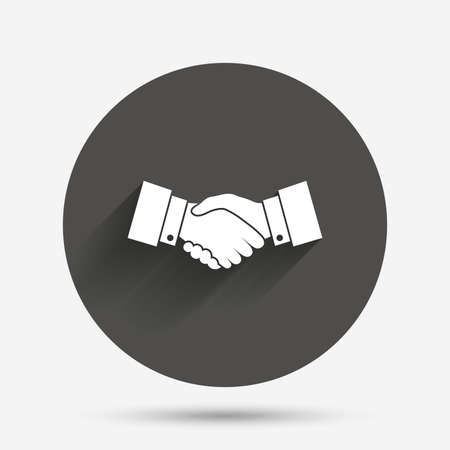 arms trade: Handshake sign icon. Successful business symbol. Circle flat button with shadow. Vector