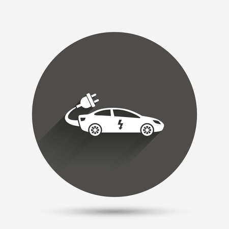saloon: Electric car sign icon. Sedan saloon symbol. Electric vehicle transport. Circle flat button with shadow. Vector