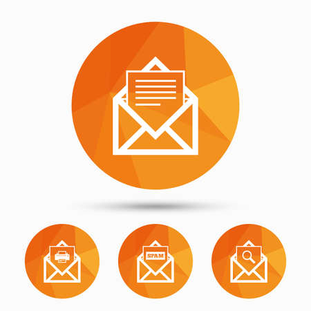 webmail: Mail envelope icons. Print message document symbol. Post office letter signs. Spam mails and search message icons. Triangular low poly buttons with shadow. Vector