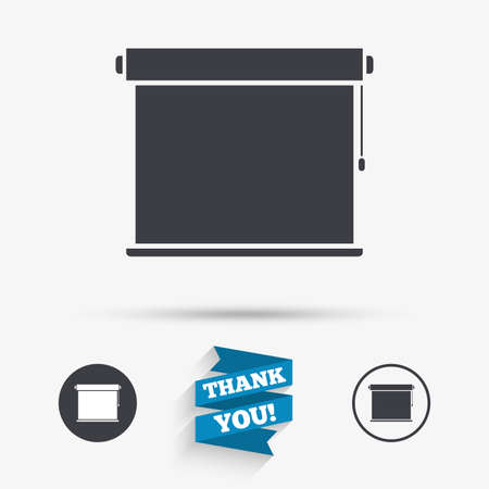 jalousie: Louvers rolls sign icon. Window blinds or jalousie symbol. Flat icons. Buttons with icons. Thank you ribbon. Vector