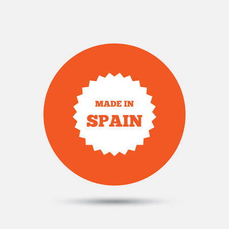 made in spain: Made in Spain icon. Export production symbol. Product created sign. Orange circle button with icon. Vector