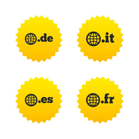 vector es: Top-level internet domain icons. De, It, Es and Fr symbols with globe. Unique national DNS names. Yellow stars labels with flat icons. Vector