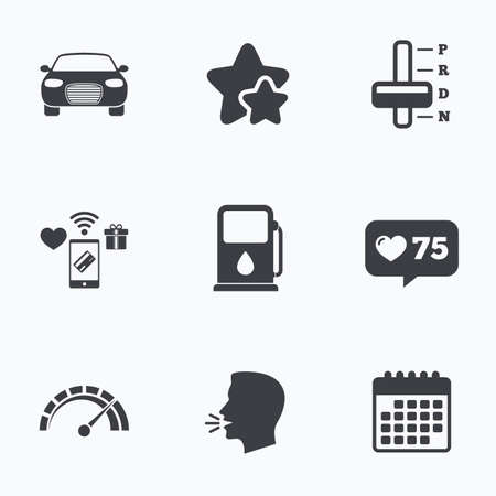 automatic transmission: Transport icons. Car tachometer and automatic transmission symbols. Petrol or Gas station sign. Flat talking head, calendar icons. Stars, like counter icons. Vector